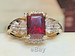 Vintage Estate 14k Gold Red Ruby & Diamond & White Sapphire Ring Signed Cr