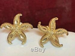 Vintage Estate 14k Gold Starfish Earrings Designer Signed Gcj Textured