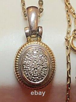 Vintage Estate 14k Gold & Sterling Silver Diamond Signed Pendant Necklace
