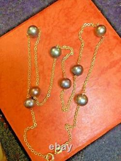 Vintage Estate 14k Gold Tahitian Pearl Station Necklace Signed Adl Made Italy