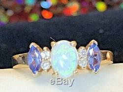 Vintage Estate 14k Gold Tanzanite Diamond Opal Ring Designer Signed Bh Effy