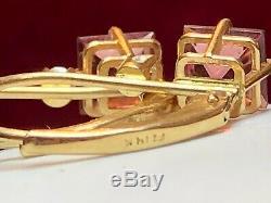 Vintage Estate 14k Gold Toumaline White Quartz Earring Signed Fi Gemstone