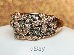 Vintage Estate 14k Gold White Chocolate Diamond Flower Ring Signed Aj Appraisal