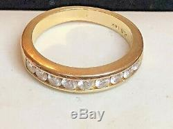 Vintage Estate 14k Natural Gold Diamond Band Ring Wedding Anniversary Signed Alb