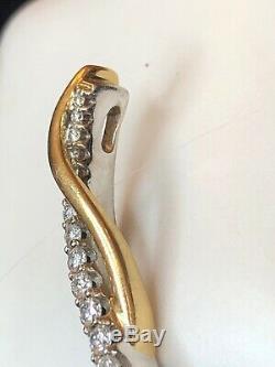 Vintage Estate 14k White Gold 16 Diamonds Pendant Signed Aks Graduated Journey