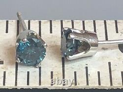 Vintage Estate 14k White Gold Blue Diamond Earring Designer Signed Aj Earrings