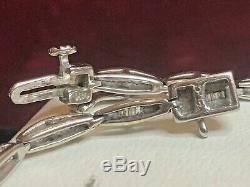 Vintage Estate 14k White Gold Diamond Bracelet Baguette Signed Pdc