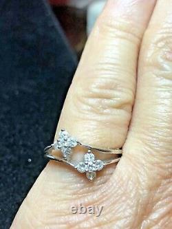 Vintage Estate 14k White Gold Diamond Ring Flower 585 Designer Signed E J