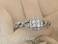 Vintage Estate 14k White Gold Diamond Ring Halo Engagement Signed Vera Wang