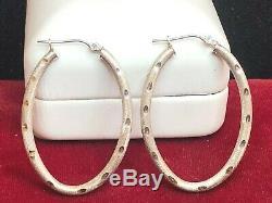 Vintage Estate 14k White Gold Hoop Earrings Designer Signed F S Oval Hoops