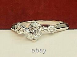 Vintage Estate 14k White Gold Natural Diamond Ring Engagement Wedding Signed