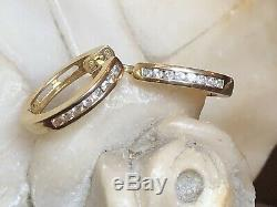 Vintage Estate 14k Yellow Gold Diamond Earrings Huggies Designer Signed Ea