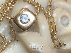 Vintage Estate 14k Yellow Gold Diamond Pendant Necklace Signed Made In Italy