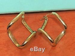 Vintage Estate 14k Yellow Gold Earrings Designer Signed Milor Made Italy Hoop