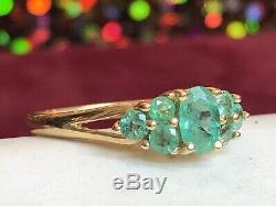 Vintage Estate 14k Yellow Gold Genuine Green Emerald Ring Gemstone Signed Scss