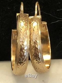 Vintage Estate 18k Gold Earrings Hoops Gypsy Designer Signed Unoaerre Hallmark