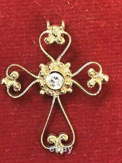 Vintage Estate 18k Gold Natural Diamond Cross Religious Pendant Signed Filigree