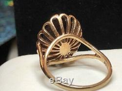 Vintage Estate 9k Gold Garnet Ring Signed Hbj Made England 375 Gemstone Basket