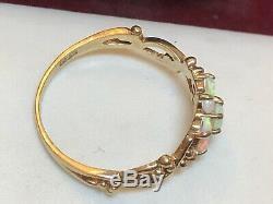 Vintage Estate 9k Gold Opal Ring Made London Floral Gemstone Signed Hbj