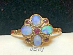 Vintage Estate 9k Gold Opal & Ruby Ring Made London Floral Gemstone Signed Hbj