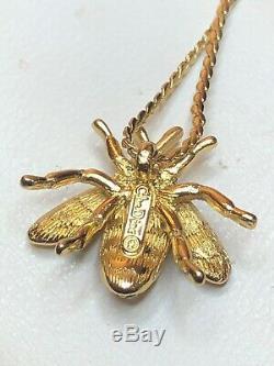 Vintage Estate Designer Signed Cristian Dior Bee Necklace