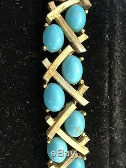 Vintage Estate Designer Signed Trifari Turquoise Cabs Necklace Bamboo