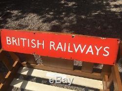 Vintage Ex British railway (Midlands) station sign single side