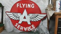 Vintage FLYING A SERVICE SIGN HUGE PORCELAIN OVER METAL