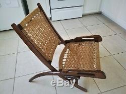 Vintage Folding Rope Chair Signed Yugoslavia / Hans Wegner Style MCM Modern