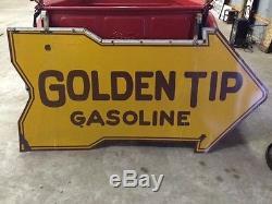 Vintage GOLDEN TIP Porcelain Gas Sign