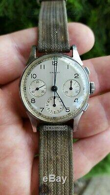 Vintage Gallet Chronograph-valjoux 72-signed Stainless Steel Case-nice