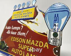 Vintage General Electric Auto Lamps Porcelain Sign Mazda Edison Gas Pump Plate