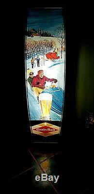 Vintage Grain Belt Beer Brewery Vertical Snowmobile Light Sign Cabin Decor 36in