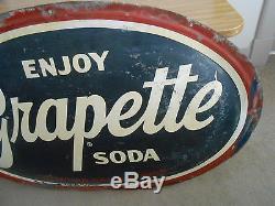 Vintage Grapette Soda Sign Oval Metal 53x36 Good Condition Rare