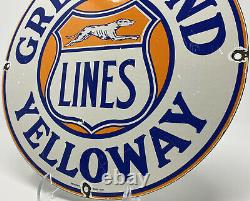 Vintage Greyhound Yelloway Bus Line Porcelain Sign Gas Station Transportation
