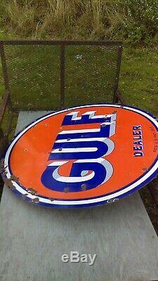 Vintage Gulf Dealer sign & pole. Double sided porcelain. Gas station. Original