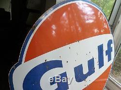 Vintage Gulf Oil Gas Station Sign Pole Original 60's