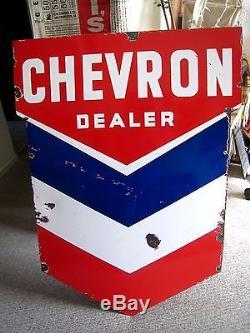 Vintage HUGE Porcelain Sign - CHEVRON DEALER - Gas Station Wall Mount