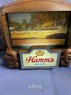 Vintage Hamm's Beer Barrel Lighted Scene Flip Motion Sign Hamms Bear