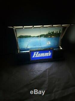 Vintage Hamm's Beer Light Bar Top Sign, Sky Blue Waters Working extra Lake scene