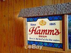Vintage Hamms Beer Sign Scenorama Campfire Waterfall Motion Light clock light