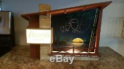 Vintage Hamms Holy Grail Moon to Moon Starry Night beer sign motion Hamm's light