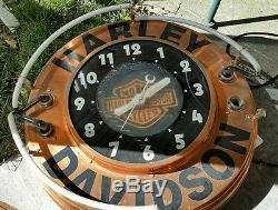 Vintage Harley Davidson Motorcycle Glo Dial Art Deco Neon