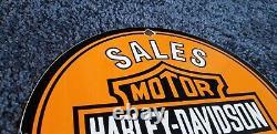 Vintage Harley Davidson Motorcycle Porcelain Gas Service Station Pump Sign