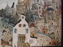 Vintage Hungarian Whimsical Folk Art Oil On Canvas Painting Laszlo Bornemisza