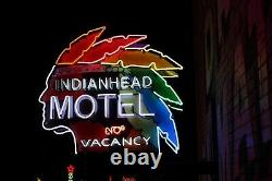 Vintage Indian Head Motel Custom Neon Sign! Real Neon Glass Outdoor/Indoor Use