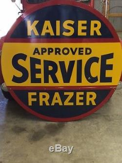 Vintage Kaiser-Frazer Double Sided Porcelain Sign