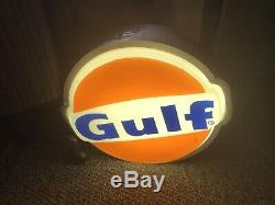 Vintage Kolux GULF gas station island sign Lighted Sign Works