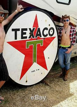 Vintage LG Porcelain Texaco 2sided Oil Gas Gasoline Sign Service Station 72X72