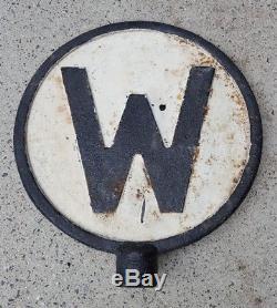Vintage Large Railroad Whistle W Sign Original Cast-Iron Old Train Sign Rare